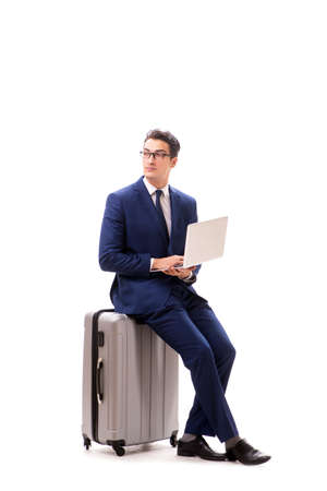 Businessman in business travel concept isolated on white Stock Photo