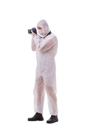 Forensic specialist in protective suit taking photos on white Standard-Bild