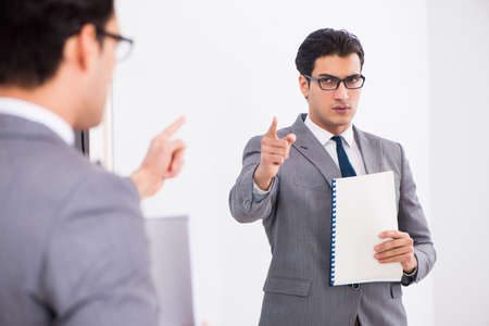 Politician planning speach in front of mirror Stock Photo - 101575330