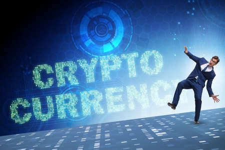 Businessman confused about all cryptocurrencies Stock Photo