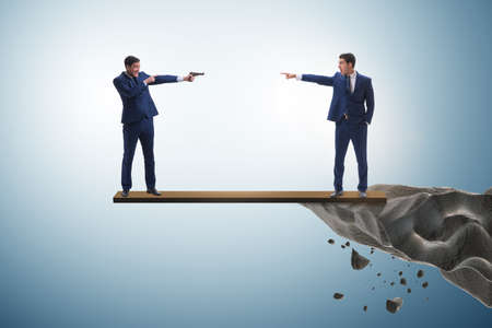 Partnership and teamwork concept with two businessmen Stock Photo