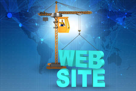 Web site construction concept with crane and letters