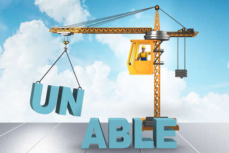 Unable turning into able concept with crane and words Stock Photo