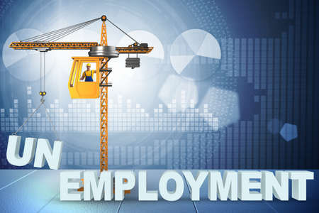 Unemployment concept with crane lifting letters Stock Photo
