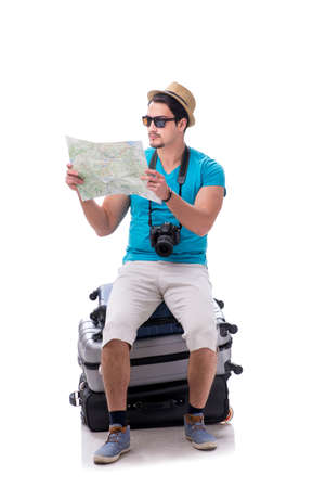Traveler with much luggage isolated on white background Banque d'images