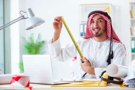 Arab engineer working on new project Stock Photo