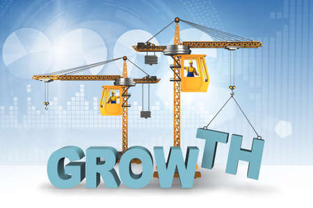Growth concept with crane lifting letters Banque d'images