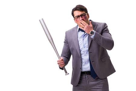 Businessman with baseball bat isolated on white Stock Photo