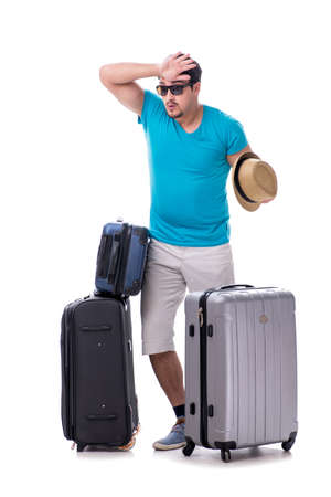 Traveler with much luggage isolated on white background Foto de archivo