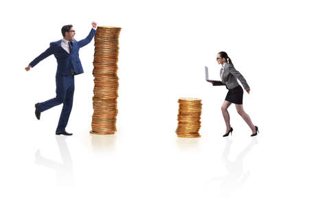 Concept of inequal pay and gender gap between man woman Фото со стока