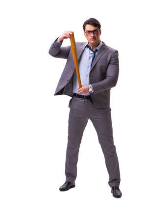 Businessman with baseball bat isolated on white Foto de archivo