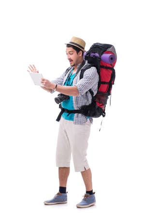 Man lost and looking for direction with map on white Stock Photo