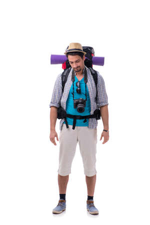 Backpacker with camera isolated on white background Stock Photo