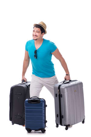 Traveler with much luggage isolated on white background Фото со стока