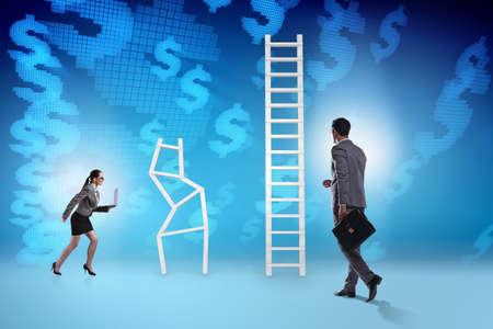 Concept of inequal career opportunities between man woman