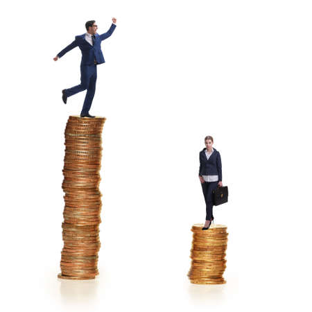 Concept of inequal pay and gender gap between man woman Stock Photo
