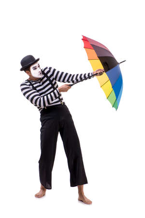 Mime with umbrella isolated on white background