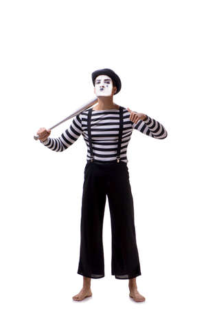 Mime with baseball bat isolated on white Foto de archivo