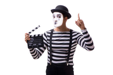 Mime with movie clapperboard isolated on white