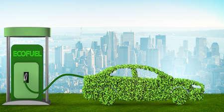 Auto aangedreven door biobrandstof - 3D-rendering