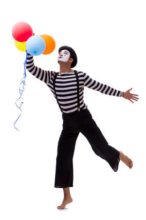 Mime with balloons isolated on white background