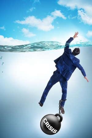Businessman failing during crisis times