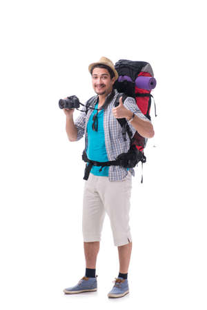 Backpacker with camera isolated on white background Foto de archivo