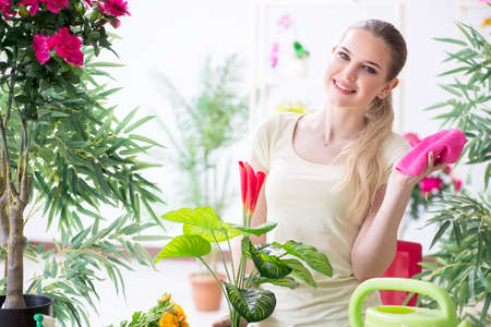 Young woman watering plants in her garden Stock Photo