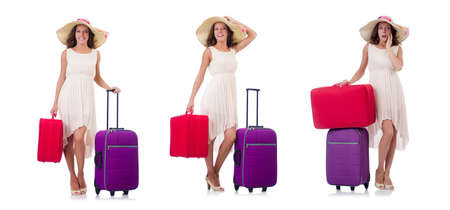 Woman going to summer vacation isolated on white Stock Photo