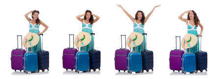 Woman traveller with suitcase isolated on white Stock Photo