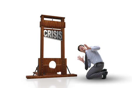 Businessman in crisis business concept Stock Photo