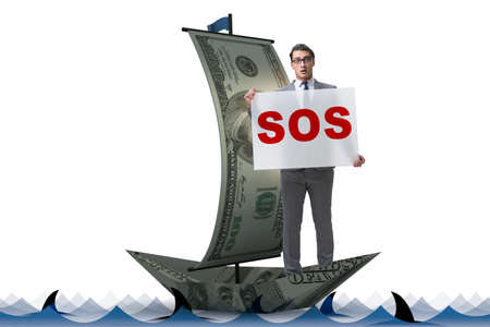 Businessman asking for help with SOS message on boat Banque d'images