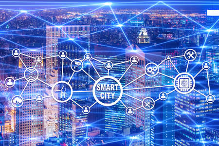 Concept of smart city and internet of things Stock Photo