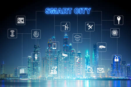 Concept of smart city and internet of things Imagens