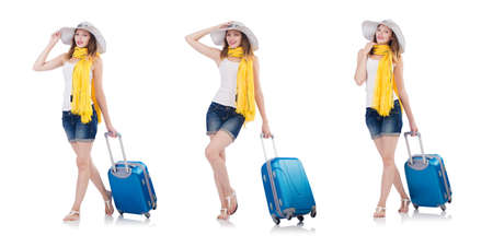 Woman going to summer vacation isolated on a white background Stock Photo