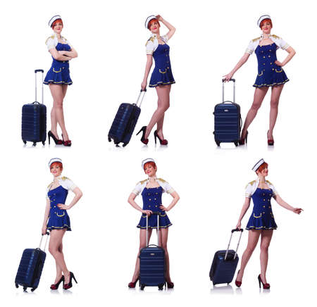 Woman with suitacases preparing for summer vacation Banque d'images - 105508007
