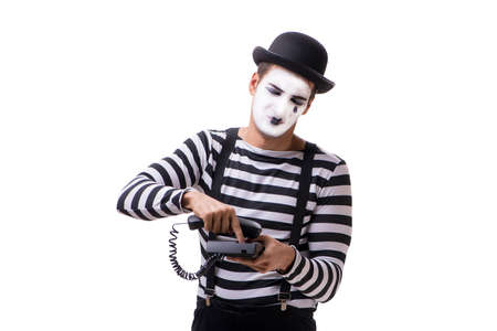 Mime with telephone isolated on white background