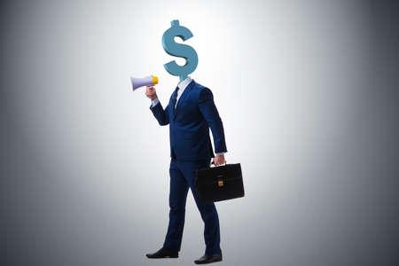 Businessman with dollar sign instead of head Stok Fotoğraf