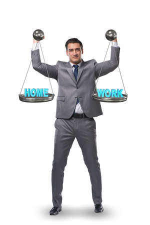 Businessman trying to find balance between home and work