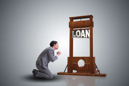 Businessman in debt and loan concept Stock Photo