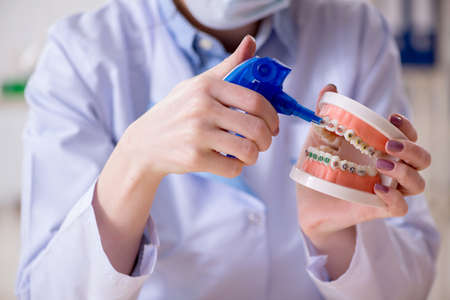 Woman dentist practicing work on tooth model Фото со стока