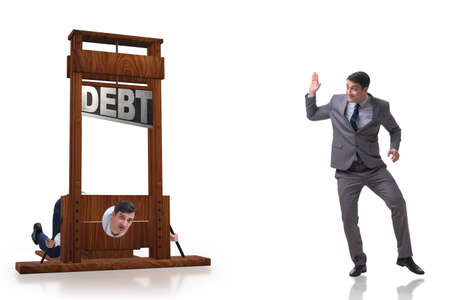 Businessman in debt and loan concept Banque d'images