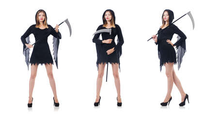 Woman in halloween concept with scythe Stock Photo