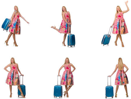 Woman with suitacases preparing for summer vacation Stock Photo