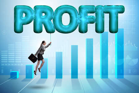 Businesswoman flying in profit concept