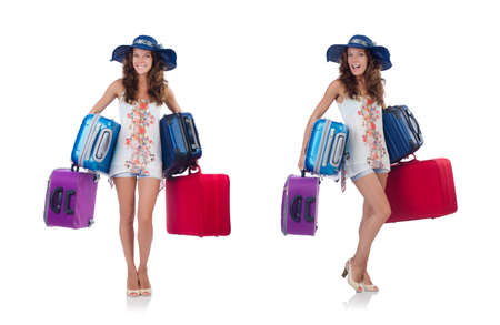 Woman going to summer vacation isolated on white background