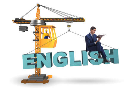 Young man in english language training Banque d'images