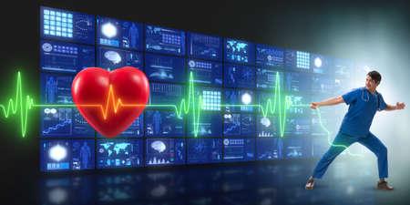 Cardiologist in telemedicine concept with heart beat Reklamní fotografie
