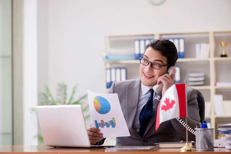 Businessman with Canadian flag in office Stockfoto