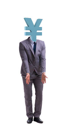 Businessman with japanese yen sign instead of head
